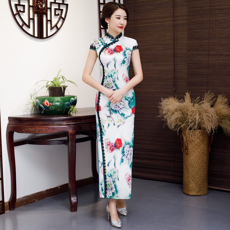 Floral Elegant Oriental Women Long Qipao Oversize Chinese Traditional Evening Dress Sexy High Split Slim Cheongsam M-5XL