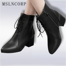 Plus Size 34-45 New Classic Women Ankle Boots Stylish Pointed Toe Square Heels Lace-Up Black Shoes Woman Motorcycle Leather Boot цены онлайн