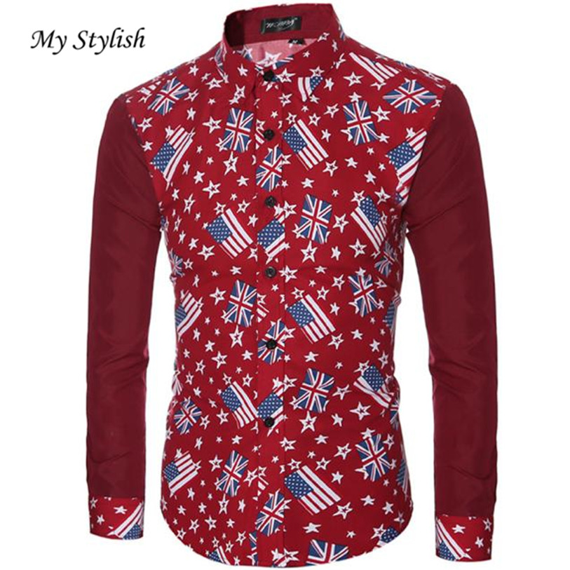 0e6316fcaf6 2018 New Autumn Fashion Brand Fashion Mens Casual Shirts Long Sleeve Slim  Fit Printing Tops Shirt Plus Size Dec 19-in Casual Shirts from Men s  Clothing ...