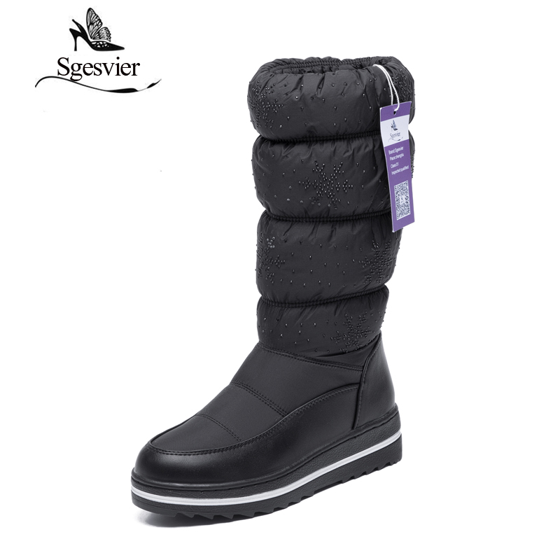 SGESVIER Waterproof Boots for Winter Calf-high Women Boots Space Cotton Fashion Warm Plush Botas Stretch Opening Black OX047