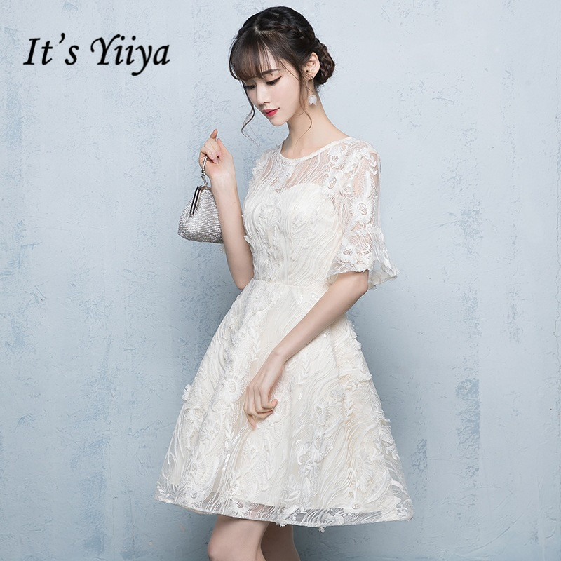 It's YiiYa   Bridesmaid     Dress   Elegant Lace O-neck Short Sleeve Party Ball   Dresses   Illusion Zipper Little Gown For   bridesmaid   E082