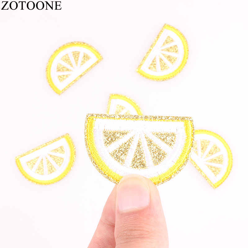 ZOTOONE 10PCs Iron On Patches For Clothing Gold Lemon Embroidery Patch Appliques Badge Stickers For Clothes Jeans 3.3x4.7cm G
