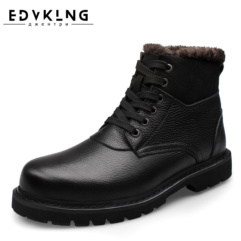 Top Quality Men Snow Boots 2017 Winter Genuine Leather Handmade EDVKLNG Brand Warmest Men Winter Shoes warmest genuine leather snow boots size 37 50 brand russian style men winter shoes 8815