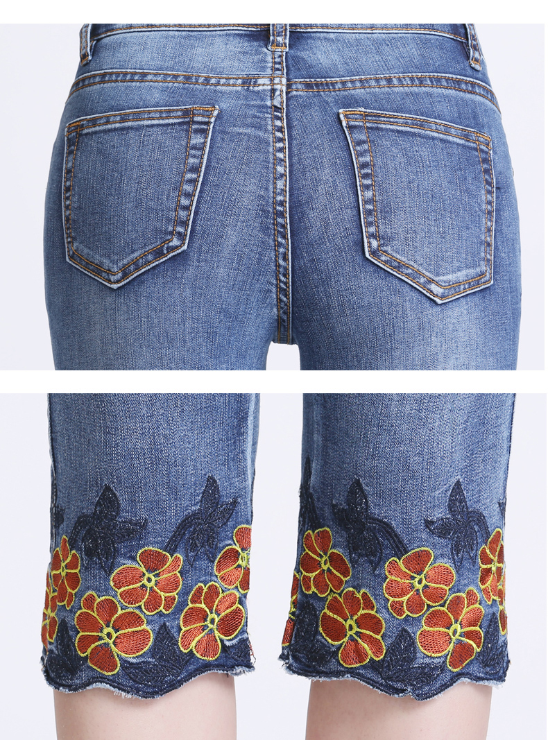 KSTUN FERZIGE women jeans shorts calf-length pants Elastic thin summer flower embroidery light blue push up skinny slim fit denm jeans 19