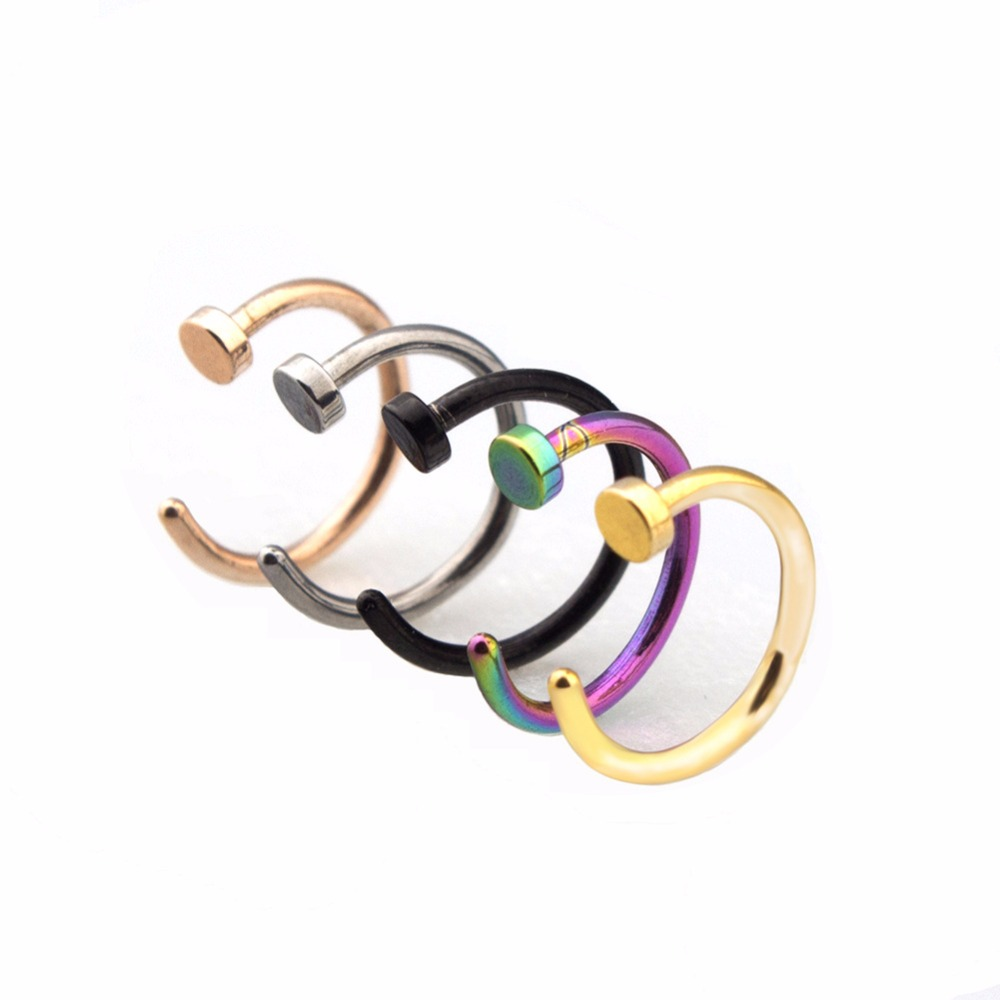 Fashion Cute Fake Piercing Medical Titanium Nose Ring Women Stainless Steel Body Clip Hoop Septum Jewelry Girls Party Gift