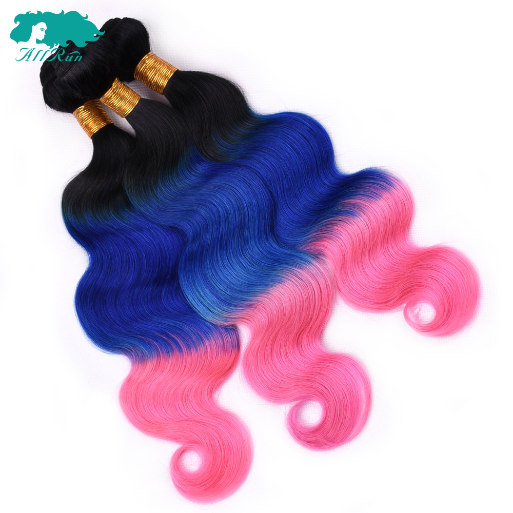 ALLRUN Body Wave Indian bundles Three Tone color Ombre TB/Pink/Blue color 3 Human Hair Bundles Non-Remy Hair Extension