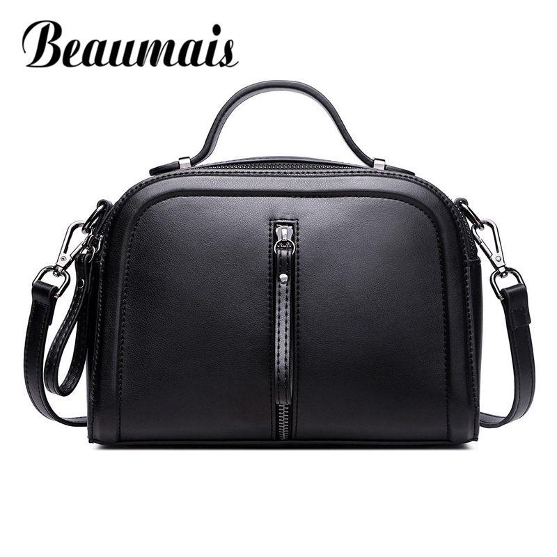 Beaumais Cow Genuine Leather Bags Women Shoulder Bag Famous Brand Crossbody Bags Vintage Classic Female Messenger Bag DF0141