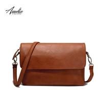 AMELIE GALANTI Brand Crossbody Bag Casual Flap Pu Solid Soft Zipper Cover Versatile Single High Quality