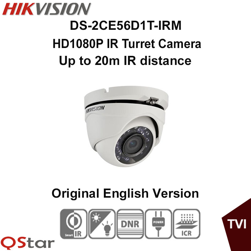 Hikvision Original English Version DS-2CE56D1T-IRM HD1080P IR Turret Camera 2MP 20m IP66 weatherproof OSD menu CCTV Camera hikvision original english version ds 2ce16d1t irp hd1080p ir bullet camera 2mp ip66 weatherproof up the coax cctv camera