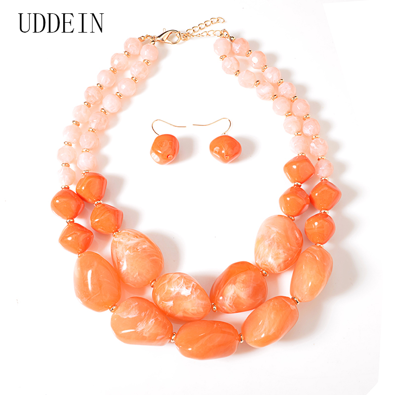 111d57c6a62e Cheap UDDEIN cuentas africanas conjuntos de joyas gran resina gema  declaración gargantilla collar mujeres nupcial boda