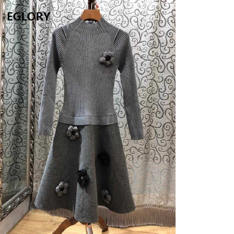 Top Quality New 2018 Autumn Winter Wool Sweater Dress Women Appliques Flowers Long Sleeve A Line Grey Black Knitted Dress Wool