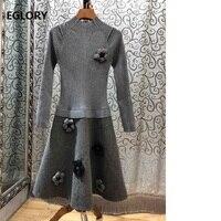 Top Quality New 2018 Autumn Winter Wool Sweater Dress Women Appliques Flowers Long Sleeve A Line Grey Black Knitted Dress Wool