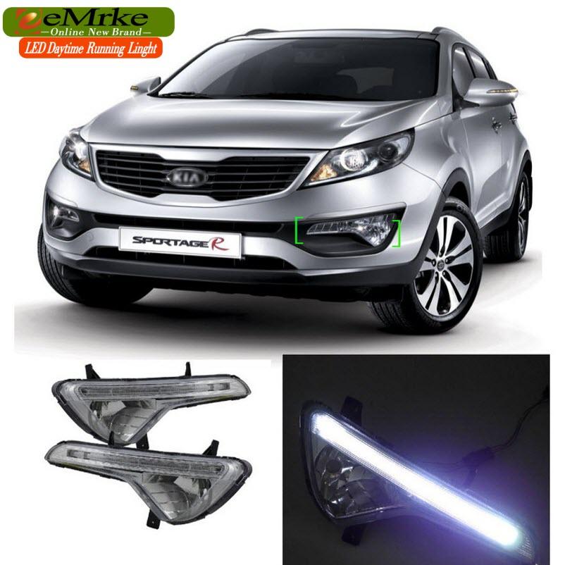 eeMrke Car LED DRL For KIA Sportage SL 2010 2011 2012 2013 2014 2015 2016 Xenon White DRL Fog Cover Daytime Running Lights Kits