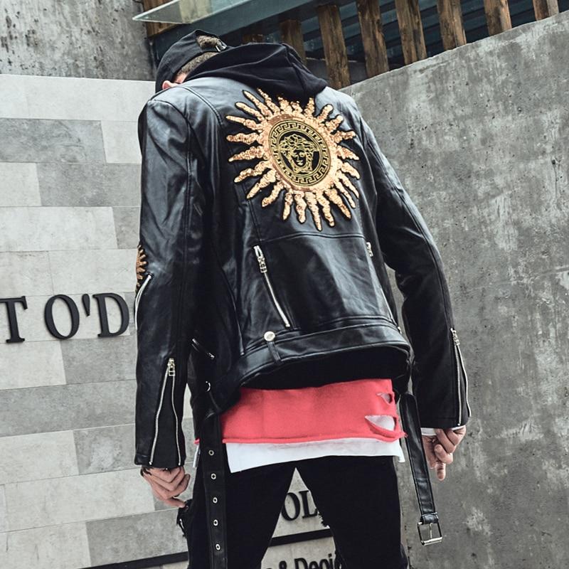 Autumn Winter Punk Leather Jacket Men Black Color Bomber Coat Slim Fit Zippers Korean Cool