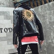 Sonbahar kış Punk deri ceket erkekler siyah renk bombacı ceket Slim fit fermuarlar kore serin