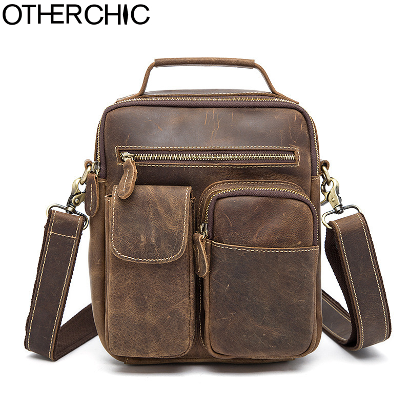 OTHERCHIC Genuine Leather Crazy Horse Men Bags Vintage Brand Messenger Bags Travel Bag Luxury Crossbody Shoulder Bag Men 7N04-36 crazy horse leather shoulder messenger vintage bag man bags 2017 business genuine cow leather travel luxury brand crossbody bags