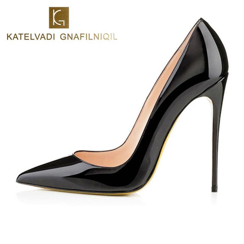 Бренд 12 см обувь на высоком каблуке женские туфли-лодочки на высоком каблуке Свадебная обувь черного цвета женская обувь на каблуках Высоки...