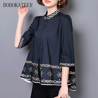 BOBOKATEER Embroidery Long Sleeve Plus Size Casual Loose White Black Women Tops Blouse Blusas Shirt Blusas