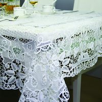 QUNYINGXIU 100 Cotton Tabelcloth Tuscany Lace Handmade Floral Classical Square Banquet Table Cover 72 72 Inch