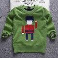 2016 camisola das crianças mais grosso outono e inverno marca de moda menino camisola do pulôver da camisola dos desenhos animados jacquard suéter de lã fina