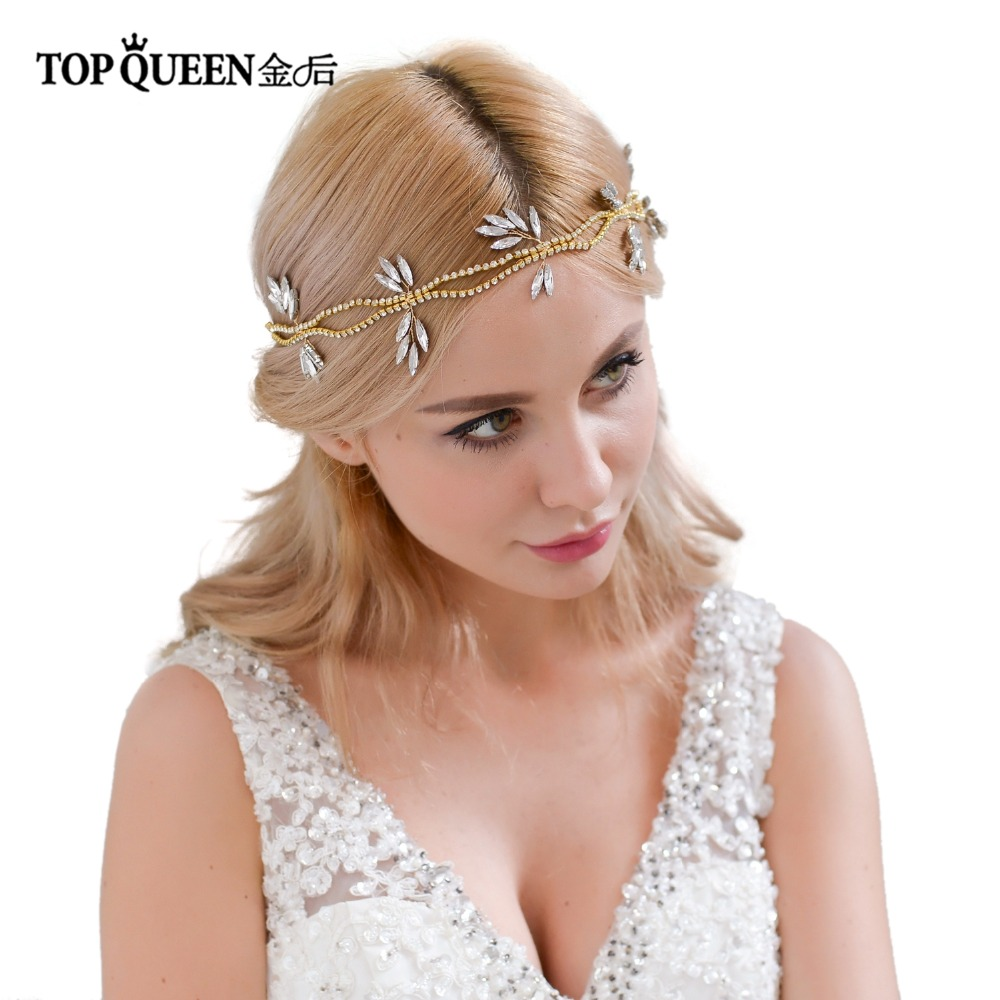 TOPQUEEN HP74 Bridal Headband Double-deck Head Chain And Spindle Shape Rhinestones Wedding Hair Accessories