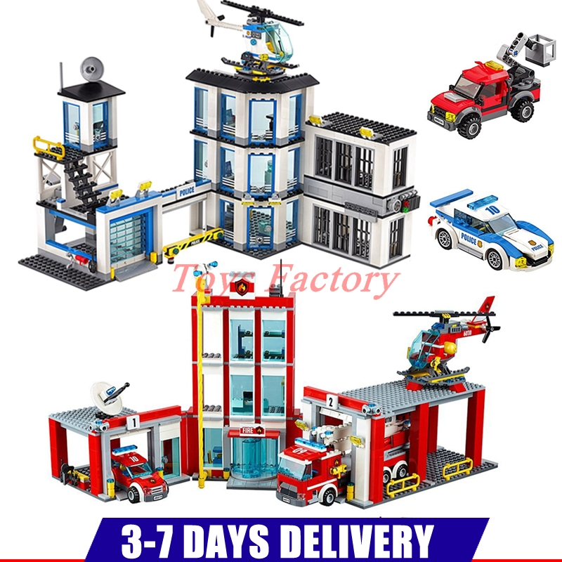 IN Stock DHL LEPIN 02020 965PCS New Police Station Set+ 02052 1029Pcs The Fire Station Building Blocks Bricks Clone 60141 60110 dhl lepin 02020 965pcs city series the new police station set model building set blocks bricks children toy gift clone 60141