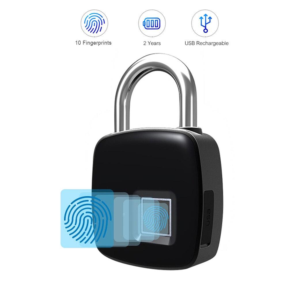 Smart Lock Keyless Fingerprint Lock IP65 Waterproof cerradura inteligente Anti-Theft Security Padlock Door Luggage Case Lock(China)