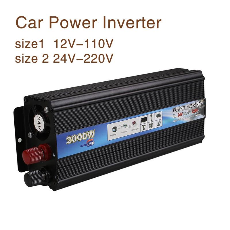 ФОТО 2000W Car Vehicle USB 24V-220V/12V-110V Power Inverter Adapter Converter Black