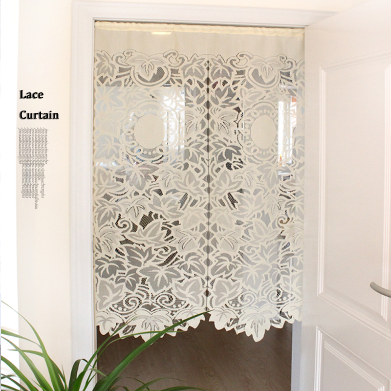 85x150cm Lace Curtains Lace Gauze Drawstring Short Curtain For Living Room Kitchen Cabinet Door Leaf Partition Half-curtain