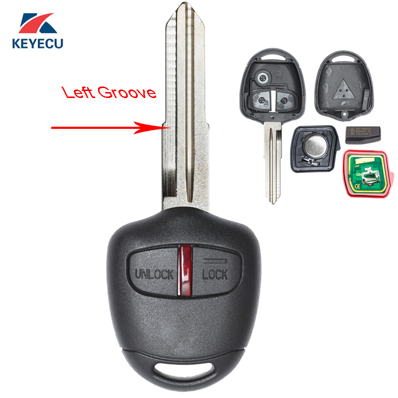 KEYECU <font><b>Replacement</b></font> Remote Car <font><b>Key</b></font> Fob 2 Button 315MHz ID46 for <font><b>Mitsubishi</b></font> Outlander <font><b>L200</b></font> Shogun Lancer Left Blade Uncut image