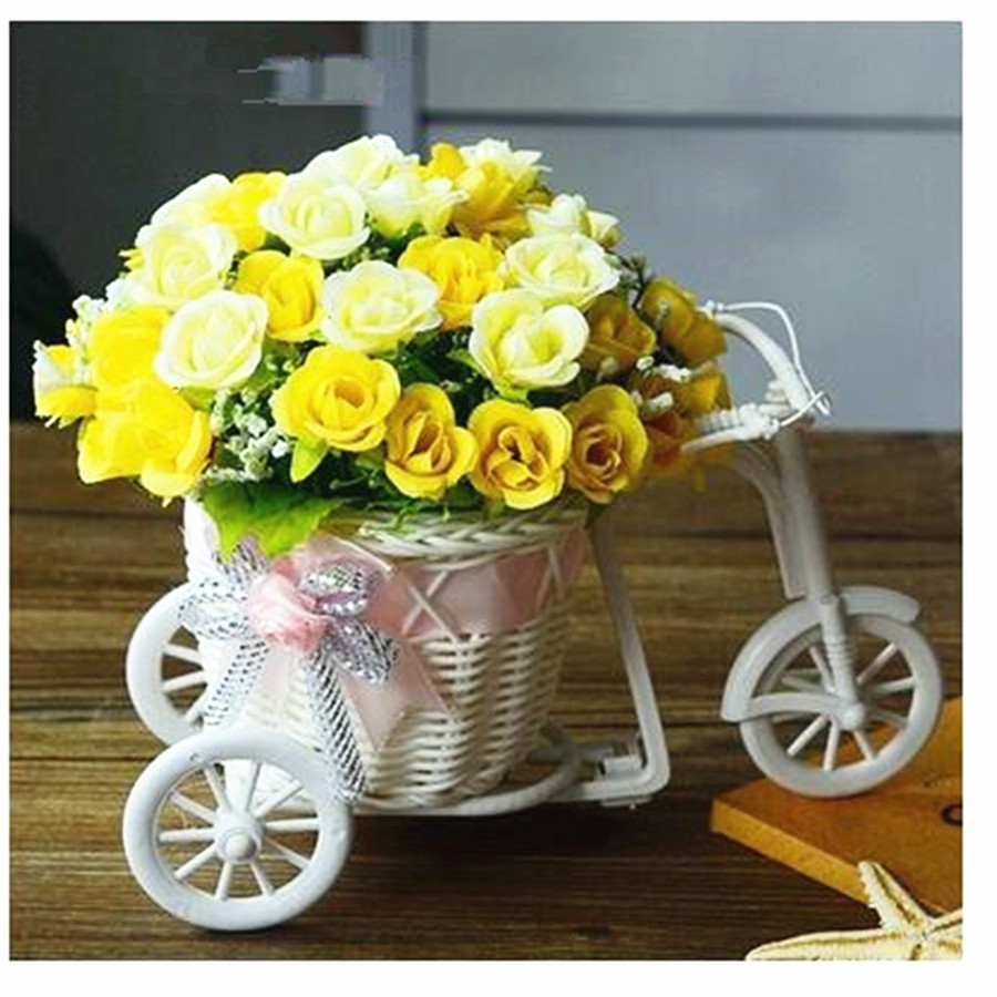 Yellow Wedding Flowers Ideas: Plastic Roses Bouquet Simulation Pink Red Yellow Flower