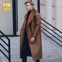 Italian Winter Business Men Knee Long Pu Leather Jacket Male Double Breasted Office Work Lapel Collar Warm Faux Fur Lining Coats