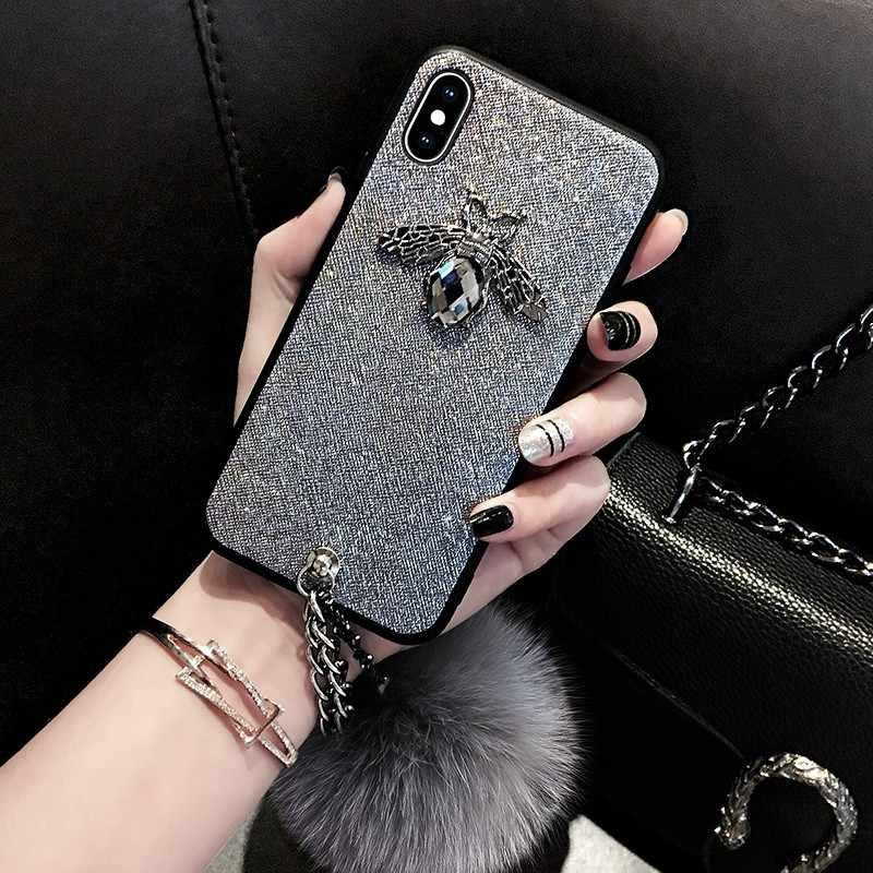 3D милый изумрудно-зеленый бриллиант пчела лиса волосы плюшевый мохнатый кожаный чехол для iphone X чехол прекрасное покрытие для iphone 6 6s 7 8 plus coque