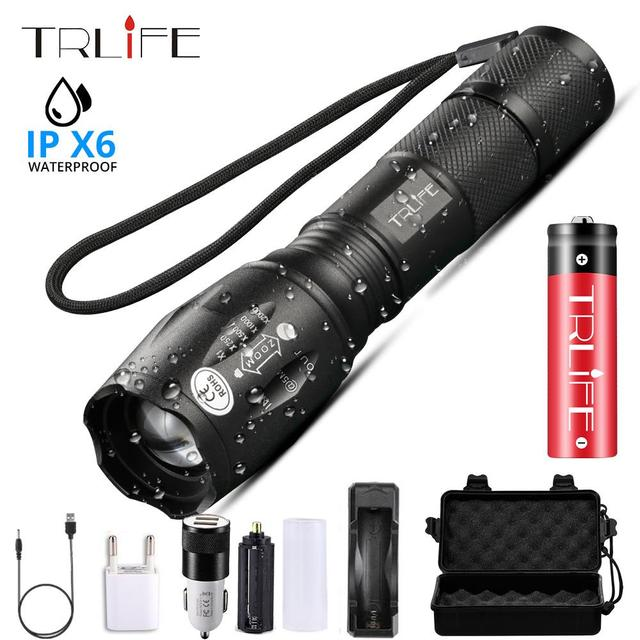 15000 LM Led flashlight Ultra Bright torch T6/L2/V6 Camping light 5 switch Modes Zoomable USB Bicycle Light use 18650 battery