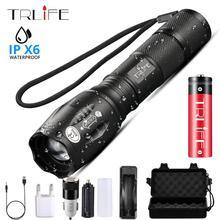 LED el feneri en güçlü meşale T6/L2/V6 kamp ışık 5 anahtarı modu su geçirmez zumlanabilir bisiklet ışığı 18650 pil kullanın