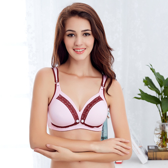 3c173ee7c12a6 Pregnant Nursing Maternity Bras Breastfeeding Cotton Brassiere No Rims Open  Front Underwear Smooth Feeding Cup CL0556