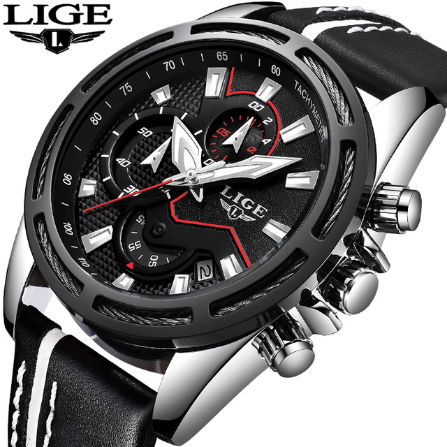 LIGE new Mens Watches Top Brand Luxury Man Sport Watch Male Fashion Business Clock Men Leather Quartz WristWatch Relojes Hombre mens watches oulm top brand luxury military quartz watch unique 3 small dials leather strap male wristwatch relojes hombre