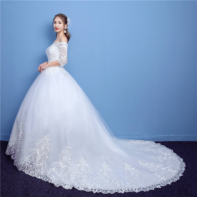 ad3c29daedd It s YiiYa Off White Half Sleeve Boat Neck Sales Wedding Dresses Embroidery  Luxury Lace Appliques Court Train Wedding Frock TD09