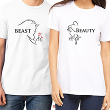 PSTYLE Beauty and Beast couple t shirt summer short sleeve couples tee tops o-neck modal lovers gifts for darling
