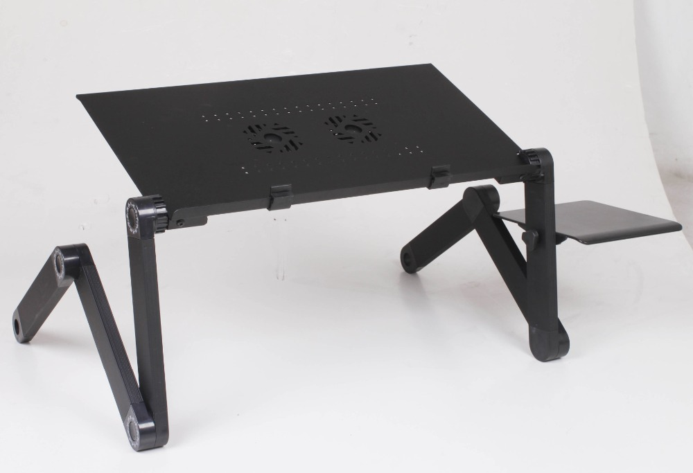 48cm Foldable Laptop Table Ergonomic Laptop Lapdesk Stand For Bed Portable Sofa Notebook Desk With Mouse Pad and Fan