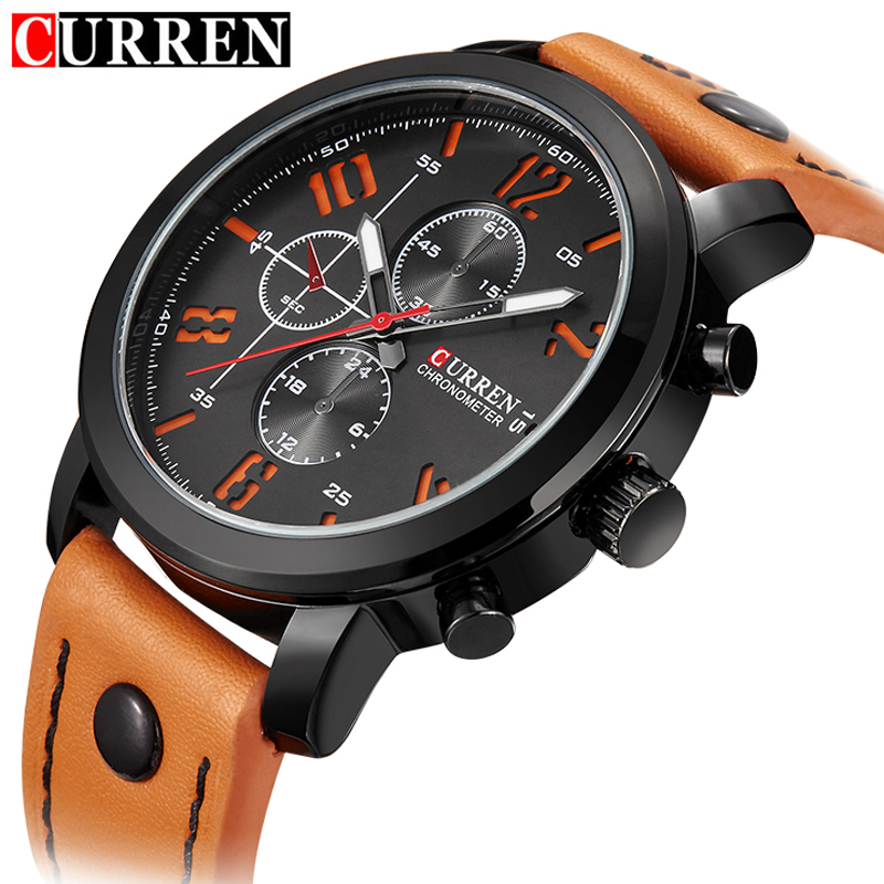 CURREN 8192 Mens Watches Top Brand Luxury Waterproof Hour Date Quartz Watch Man Leather Sport Wrist Watch Men Waterproof Clock new chenxi brand dial male clock hours hand date black leather straps mens quartz wrist watch 3atm waterproof wristwatches man