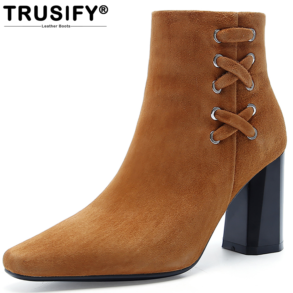 TRUSIFY 2017 Ohamaze Suede Genuine Leather Wedge Boots Women Womens Winter Boots Super High Fur Boot Heels bamboo womens driven 77 casual wedge