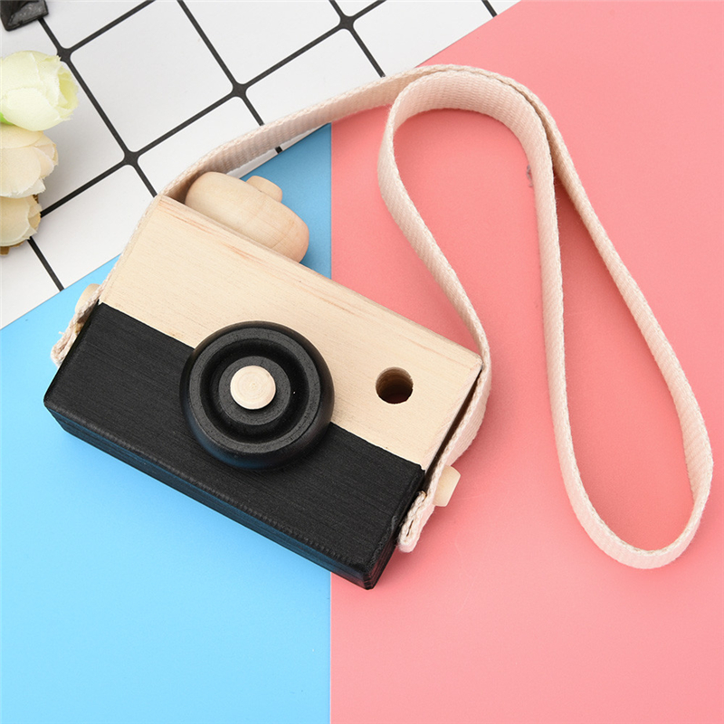 High Quality Black Wooden Toy Camera Kids Creative Neck Hanging Rope Toy Photography Prop Gift Great Fun For Children Drop Ship