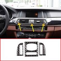 3pcs Real Carbon Fiber For BMW 5 Series F10 F18 520 2011 2016 Car Center Air Vent Frame Trim Stickers Accessories