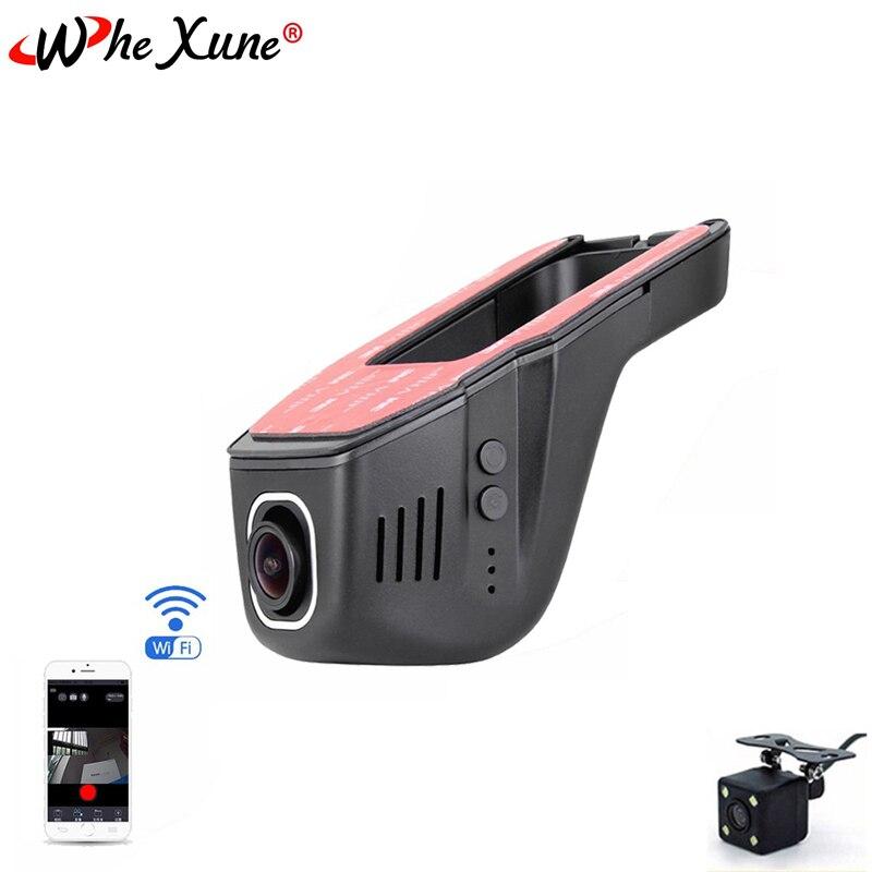 WHEXUNE Novatek 96658 wifi Автомобильный видеорегистратор Full HD 1080P с двумя объективами ночного видения, видеорегистратор, видео запись, видеорегистратор