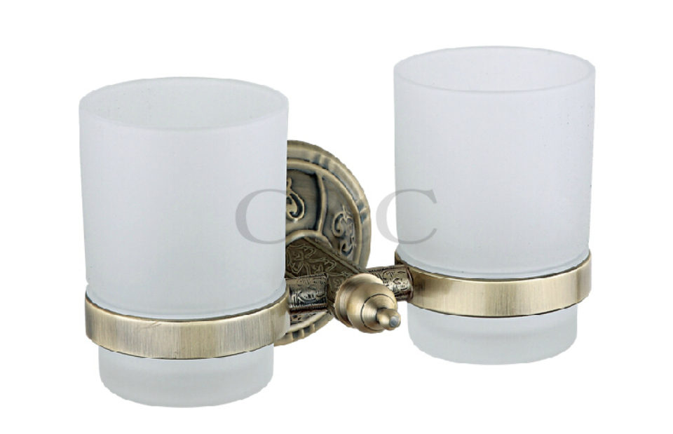 Noble And Elegant Solid Brass And Glass Antique Plating Bathroom Double Cup Tumbler Holders 1110 antique brass cup