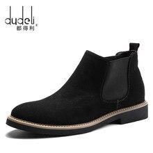 De talla grande 38-45 hombres Chelsea botas de tobillo botas de moda de diseño de marca Cuero de calidad antideslizante en la motocicleta botas hombre caliente de peluche de juguete