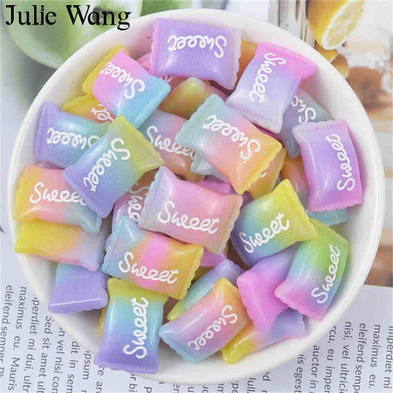 جولي وانغ 10 قطعة الراتنج مختلطة الحلو الحلوى السحر الاصطناعي الغذاء الوحل المعلقات مجوهرات صنع الإكسسوارات ديكور للطاولات المنزل الدعائم