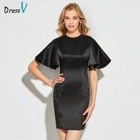 Dressv black cocktail dress elegant scoop neck appliques zipper up short sleeves wedding party formal dress cocktail dresses