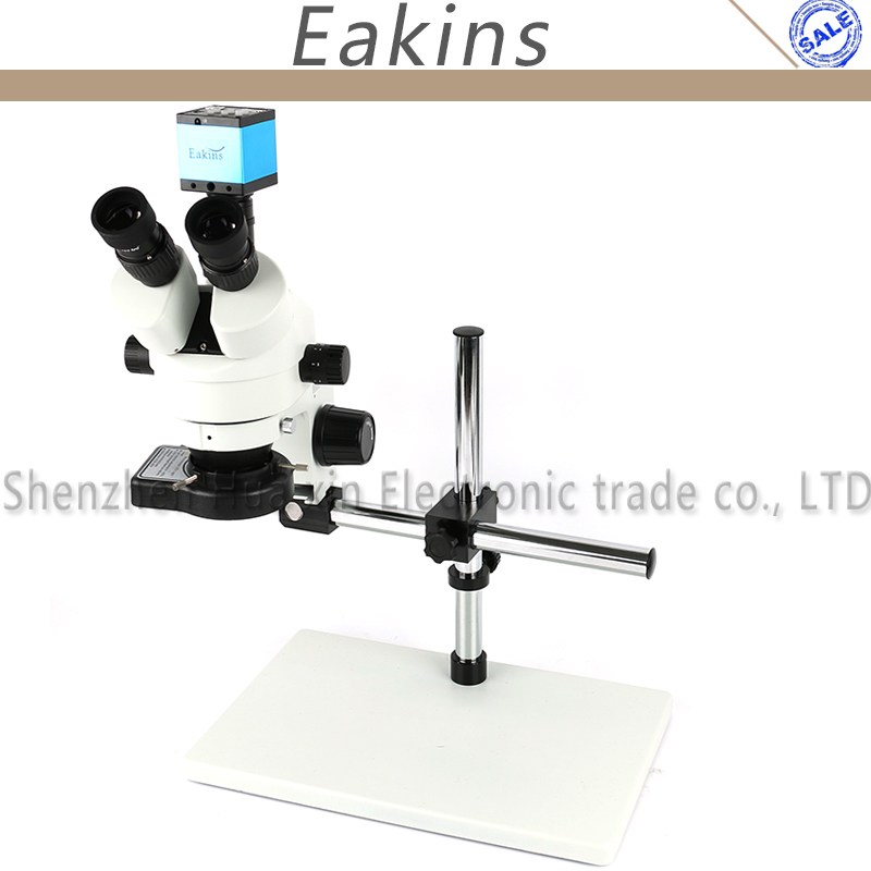 14MP HDMI USB Eyepiece Camera Trinocular Zoom Stereo Microscope 7-45X 144 LED Ring Light+Boom Stand+Big Stand For Repair Iphone